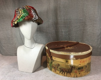 Antique vintage feather hat and case