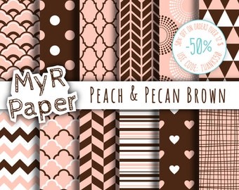 "Digital paper: ""Peach & Pecan Brown"" pack for scrapbooking, invite, card – fans, japanese, dots, hearts, stripes, chevron, moroccan"