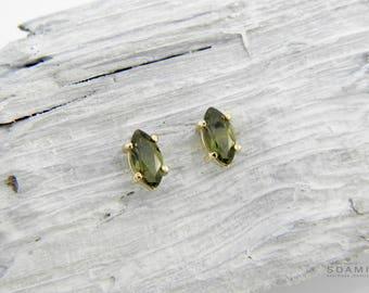 Gold moldavite studs, tektite stud earrings solid gold, Czech vltavin stud earrings, moldavite studs