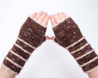 SALE -Knit striped fingerless gloves in brown