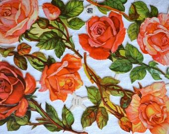 Vintage Paper Scraps - EAS Coral Tea Roses - 6 Die Cuts