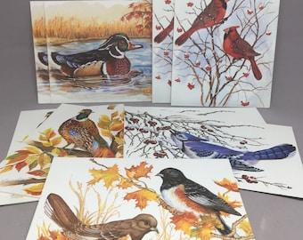 Vintage Birds Blank Card Set of 9 PVA Paper Craft Scrapbook New Old Stock