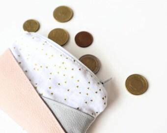 Leather tiny little zipper pouch purse travel small wallet make up bag zipper coin mini purse tiny wallet bag zipper bag gift for her