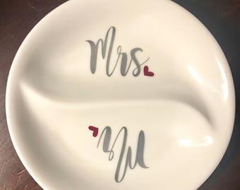 Ring dish, engagement gift, engagement gift for couple, couples gift, hubby/wifey, engagement gifts, gift for bride, bridal shower gift