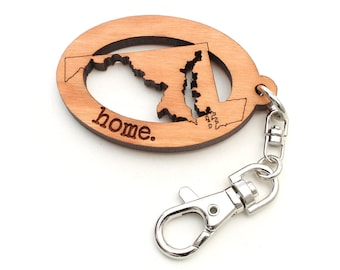 Maryland Home Key Chain - MD Home State Key Clip Maryland Design with home. Engaved by Nestled Pines and My State Shop