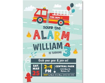Printed Invitations - Fire Truck