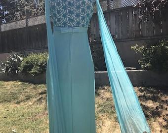Vintage 1960s Teal Blue / Turquoise Maxi Dress w/ Empire Waist & Back Drape Train + Lace XS/S