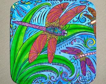 Dancing Dragonflies Coasters, Set of 4