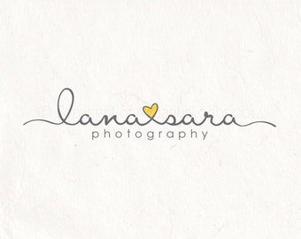Photography logo - Watermark. Heart logo design. Sketch logo scribble logo - Grey and yellow logo design.
