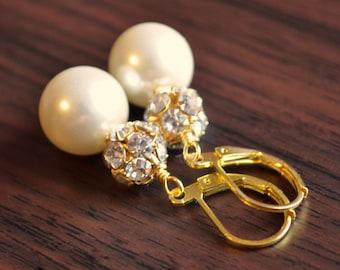 Bridal Earrings, Gold Plated, Ivory Glass Pearl Drops, Lever Earwires, Rhinestone Crystal Beads, Elegant Wedding Jewelry