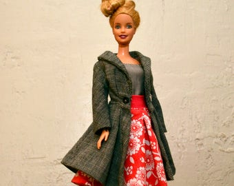 Handmade vintage style barbie clothes- Barbie outfit includes coat, shirt and skirt