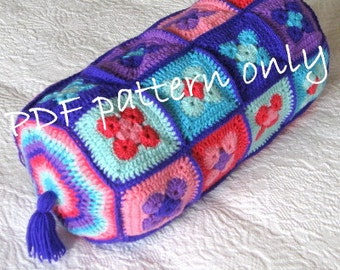 Pattern. Crochet pattern. Crochet Bolster cushion or pillow tutorial. PDF instant download. Permission to sell items made from this pattern.