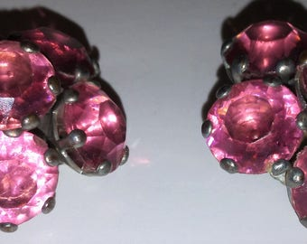 2 Antique silver tone Pink Glass Rhinestone Button