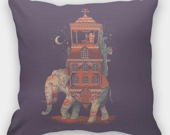 Elephant Throw Pillows Bohemian, Elephant Sofa Cushion, Boho Indian Decorative Pillow, Elephant Sofa Pillow, Elephant House Cushion 18 x 18