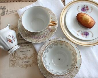 Tea set, porcelain from Limoges France, French ceramic vintage Belle Epoque tea, shabby chic decor