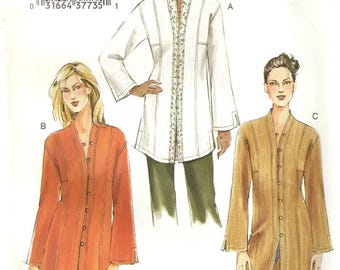 Vogue 7854 Misses Bell Sleeve Long or Short Nehru Collar Top Tunic Jacket Plus Size 20 - 22 - 24