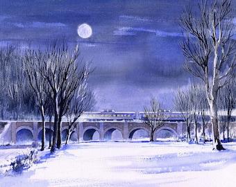 Romantic blue winter night. Full moon on snow, train on bridge, Sellersville PA. Matted prints, 5x7 blank cards of original watercolor.