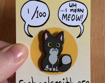 Grey Kitty hard enamel pin