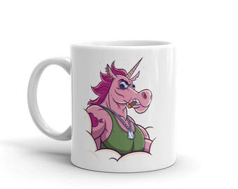 Unicorn Mug - unicorn coffee mug. badass, cup, portrait, cool, soldier, muscular, gift, bestfriend gift, tea, action figure, made in USA,