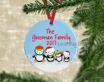 Penguin Family Ornament • Personalized • Family