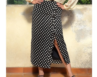 Ruffled polka dot french vintage long skirt with ruffle maxi skirt black skirt with off white polka dots Ruffled polkadot maxi split skirt