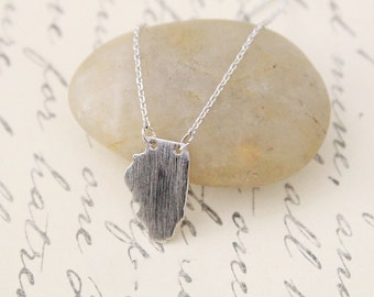Dainty Necklace, State Necklace, Tiny Silver Color Illinois State  Necklace, IL State Necklace, Illinois Necklace - 3036