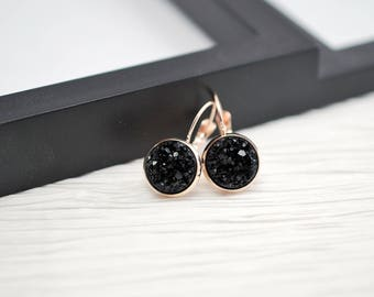 Black Rose Gold Earrings, Black Earrings, Rose Gold Earrings, Leverback, Black Druzy Earrings, Druzy Earrings, Rose Gold Jewelry, Faux Druzy