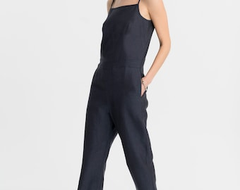 NEW Linen Jumpsuit / Strappy Jumpsuit / Loose Romper / Casual Jumpsuit / Oversize Romper / Sleeveless Jumpsuit / Marcellamoda - MP1028