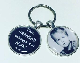 Personalised Grandad gift, Grandad photo keyring Grandad photo keychain,  This Grandad belongs to....