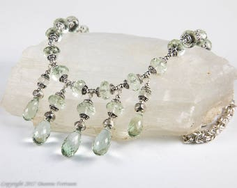 Prasiolite and Sterling Silver Necklace