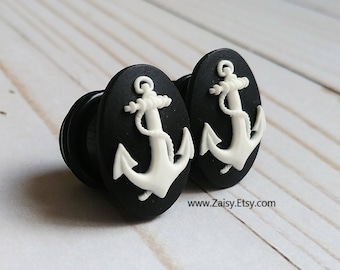 Nautical Anchor Plugs for Gauged Ears Sizes 2G, 0G, 00G, 1/2, 9/16, 5/8 Inch, 15mm, 14mm, 12mm, 10mm, 8mm, 6mm, One Pair(1)