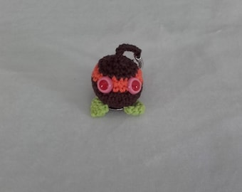 "Keychain ""Ball mask"" Brown, orange and lime green"