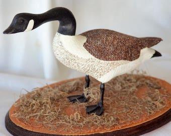 Standing Canadian Goose Decoy/Wooden Sculpture (1/2 Scale) (Handmade)