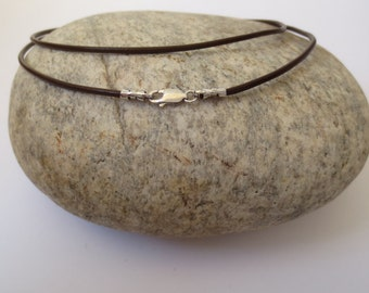 Brown Leather Cord Necklace with Sterling Silver Lobster Lock/Real Leather Cord/Long Leather Cord Necklace/24 inch/30 inch/36 inch/40 inch