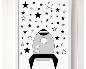 Rocketship and Stars