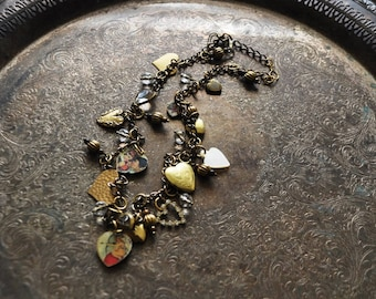 Heart Attack Valentine Charm Necklace - Vintage Assemblage