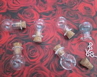 1 vial bubble glass 20 x 15 x 6 mm with screw-screw