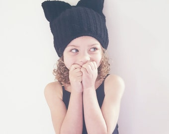 Crochet Cat Ear Slouch Beanie-Toddler-Gender Neutral
