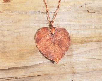 Electroformed Heart Shaped Leaf Copper Necklace R14