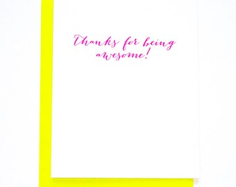 Funny Thank You. Thanks For Being Awesome Letterpress Card
