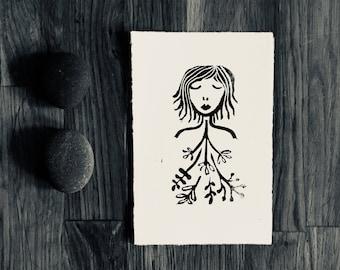 linoprint, blockprint, artprint, linocut print, 3.3 x 5.2 inch, handprinted, handpulled, handcarved, illustration, floral, female, peace