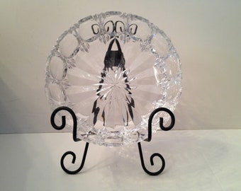 Cut Crystal Bowl with Egg and Vertical Slit Side and Star Bottom Design Presented with Black Metal Bowl Display Stand