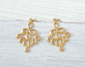 Morocco Earrings Gold, oriental earrings yellow, Boho earrings, bohemian earrings, oriental jewelry, gilded earrings