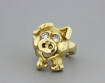 14K Golf Pig Ring with diamonds