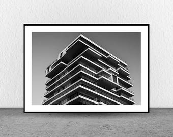 Apartment Building, Architecture Photography, Black and White Photography, Fine Art, Wall Art, Geometric, Interior Decor
