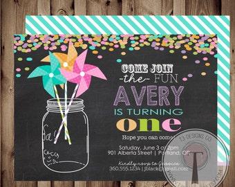 PINWHEEL Rainbow Confetti birthday invitation,mason jar, pinwheels, girl birthday, tween birthday, girl birthday invitation, girls birthday