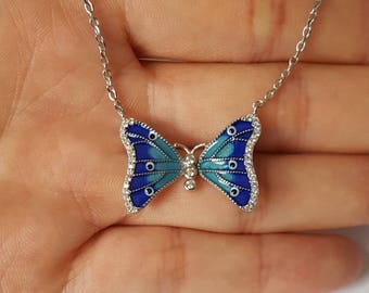 Sterling Silver Butterfly Necklace, Blue Enamel Necklace, Cubic Zirconia, Birthday Gift, Children's Jewelry, Kids Jewelry