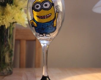 Minion Inspired Hand Painted Wine Glass