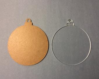 Clear Acrylic Christmas Ball Ornament Blank Set of 10