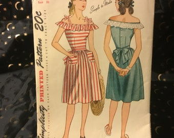 Vintage 1945 Simplicity pattern 1628- size 12- Junior misses and misses one-piece dress. Off the shoulder sundress, pockets and bows.